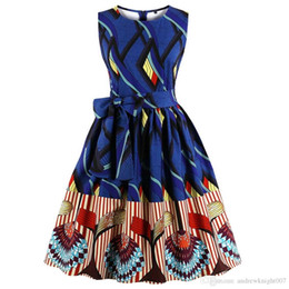 blue sashes belts Australia - Arab Country Women Vintage Dress Dark Blue A-line Print O-neck Summer Sleeveless Plus Size dresseswith Belt DK3073MX
