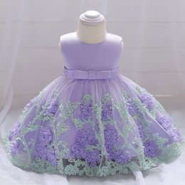 Tulle calf lengTh dress online shopping - 2019 children s dresses flowers mesh baby clothes baby years old wash wedding photography dress
