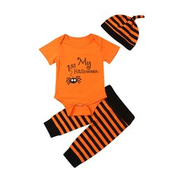 $enCountryForm.capitalKeyWord NZ - kids designer clothes girls boys pumpkin outfits Halloween infant romper+stripe pants with hat 3pcs set summer baby Clothing Sets C1186