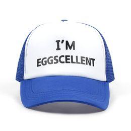 d5a9932fddf5f 2018 new I m Eggscellent Letters Print Baseball Cap Trucker Hat For Women  Men Unisex Mesh Adjustable Size Blue Drop Ship