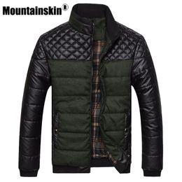 Fashion Man Skirt Australia - Mountainskin Brand Men's Jackets And Coats 4xl Pu Patchwork Designer Jackets Men Outerwear Winter Fashion Male Clothing Sa004 T2190617