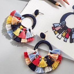 long big pendants Australia - European Hot Sale Girl Eardrop Accessories Alloy Tassel Earrings Big circular Ear Studs ear pendants Long Eardrop High Quality 09215