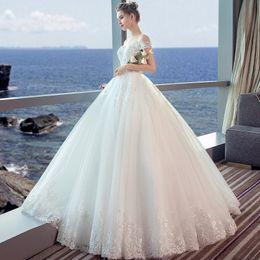 c74caf90ef5 Shoulder wedding dress 2019 new spring pregnant woman high waist slim Princess  Bride Wedding Dress