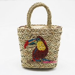 straw drawstring NZ - Handmade Parrot Embroidered Straw Bag Summer Hand-woven Handbag Beach Bag