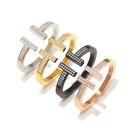 Luxury men gift online shopping - Luxury designer jewelry women Love Bracelets Stainless Steel K Rose Gold Double T bracelets bangles crystal men Silver bracelets Gifts