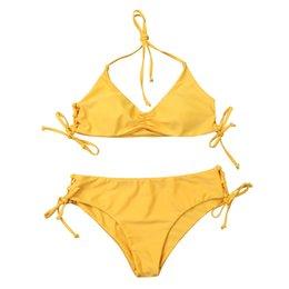 Chinese  2019 Sexy Yellow Bikinis Push up Swimwear Women Fashion Triangle Swimsuit Bikini Set Female Beach Biquinis Lady Swim Wear Bathing Suits manufacturers