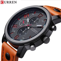 men watch leather curren Australia - 2018 CURREN Men Sport Watch Waterproof Fashion Wristwatch Montre Homme Genuine Leather Relojes Hombre Quartz Male Business Watch