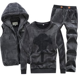 $enCountryForm.capitalKeyWord Australia - Hoodie Velvet Tracksuit Men Warm Sport Suit Track Winter Clothing Brand Vest 3 Piece Set Male Jogging Hood Black Sportwear Coat