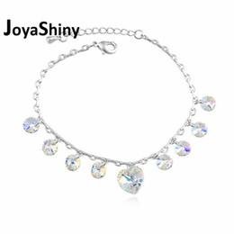 Genuine Swarovski Jewelry UK - Joyashiny Bohemian Genuine Crystals from Swarovski Heart Charm Bracelets Silver Color Pulseras Women Jewelry for Mother Gifts