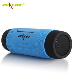 zealot bluetooth NZ - ZEALOT S1 Cycling Stereo Bluetooth Speakers Wireless Column Subwoofer LED Flashlight FM Radio 4000mAh Battery TF Card Mp3 Music Players