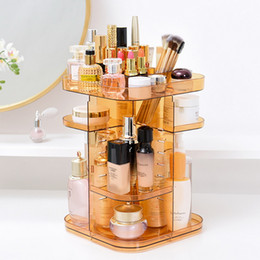 Acrylic Makeup Storage Organizer Australia - Hoomall Large Desktop 360-degree Rotating Profession Makeup Organizer Acrylic Jewelry Containers Removable Cosmetics Storage Box