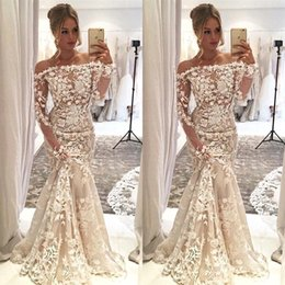 engagement party long sleeves 2020 - 2019 Long Sleeves Off The Shoulder Mermaid Wedding Dresses Long Full Lace Appliques Bridal Gowns Engagement Dresses Wedd