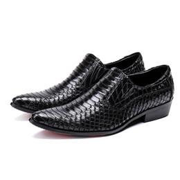 $enCountryForm.capitalKeyWord UK - Fashion Black Color Pointed Toe Slip on Man Alligator Dress Loafers Italian Designer Genuine Leather Men's Wedding Party Shoes