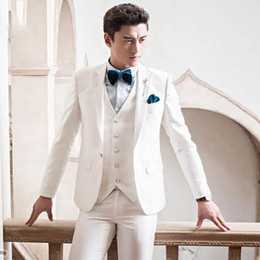Wholesale italian wool pants for sale - Group buy Custom Ivory Men Suits for Wedding Suits Pants Best Man Blazer Jacket Pieces Groomsmen Wear Terno Masculino Italian Slim Fit Costume Homme