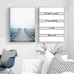 paintings bridges UK - Blue Sea Poster Bridge Wall Canvas Painting Poster Posters And Prints Quotes Landscape Living Room Pictures Modern Picture Wall