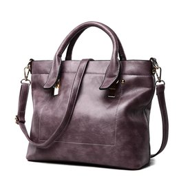 $enCountryForm.capitalKeyWord NZ - Vintage Large Tote bag Women PU Leather Handbags Crossbody Shoulder Casual Ladies bags Black Blue Ppurple Grey 2019