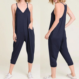 7c4e15b5458 Celmia 2019 Summer Women Jumpsuits Sleeveless Sexy Spaghetti Strap Rompers  Casual Loose Harem Pants V-neck Playsuits Plus Size