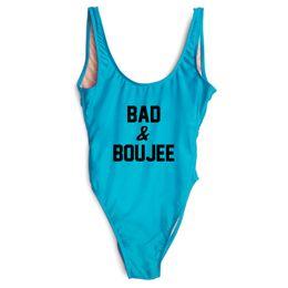 Blue Plus Size Jumpsuit Australia - Letter print BAD & BOUJEE Swimwear Women One Piece Bathing Suit Sexy Swimsuit High Cut Jumpsuit Plus Size Swim Suit mayo