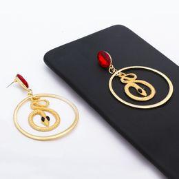 Man Made Diamonds Australia - Gold snake artificial diamond ear studs eardrop pendant Women Brand girlfriend boyfriend gift crafts dinner accessoriese