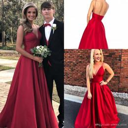$enCountryForm.capitalKeyWord Australia - Sexy REd A Line Evening Dresses Back Zipper Floor Length Custom MAde Plus Size Prom Dresses