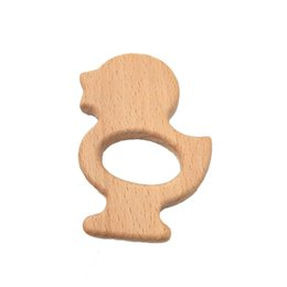 Cartoon Nature UK - 4pcs Wooden duck Teethers Nature Baby Teething Toy Organic Wood Teething Holder Nursing Baby Teether Soothers Party Favor