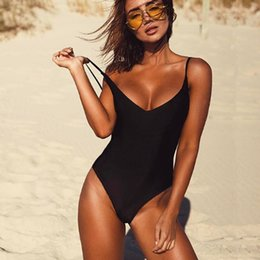 Women One Piece Thong Swimsuits Australia - Sexy One Piece Swimsuit Women Swimwear Female Solid Black Thong Backless Monokini Bathing Suit Xl Q190524