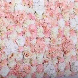ARTIFICIAL FLOWER WALL 60X40CM ROSE HYDRANGEA PANEL WEDDING BACKGROUND BACKDROP For Wedding Party Decoration Supplies customer on Sale