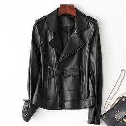 $enCountryForm.capitalKeyWord NZ - Ladies Genuine Leather Jacket Sheepskin Coat 100% Real Sheep Leather Jacket Women Motorcycle Black White Brown Female Outerwear