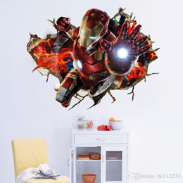 Box Brand Glasses NZ - Brand New Avengers 3D Stickers Wall Stickers Waterproof PVC Wallpapers Murals Bedroom Living Room Background Decoration