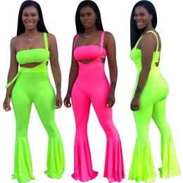 $enCountryForm.capitalKeyWord Australia - 2019 Age Reduction Sexy Style Outfits Solid 1 Piece Strapless 1 Piece Bib Long Flare Pants Thin Women 2 Piece Beach Set