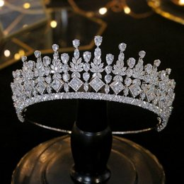 diamond crown headdress UK - Wedding hair accessories zircon tiaras bridal jewelry bridal gift party CZ jewelry crown headband crystal headdress Y200409