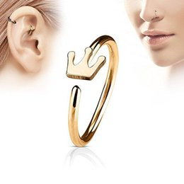 Nose Bars Australia - Piercing Zircon Screw Crown Nose Stud Body Jewelry Nose Ring Eyebrow Bar Helix Cartilage Earring Stud