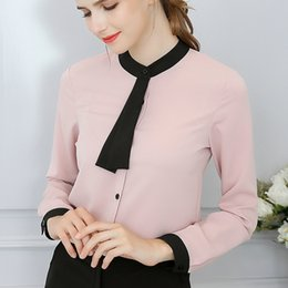 ties long NZ - Spring and Summer New Women's Long Sleeve Shirts Fashion Loose Elasticity Slim Leisure Exquisite Tie Women's Workwear Shirts Wholesale