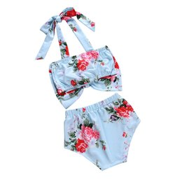 Swimsuit Strap Australia - Baby Swimwear Kid Swimsuit Floral Print Bow Tie 2Pcs Infant Kids Baby Girls Swimwear Straps Swimsuit summer 2019 new