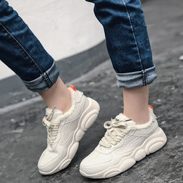 shoes sneakers wedge woman Australia - Rimocy Thick Bottom Pu Waterproof Sneakers Women Fashion Lace Up Plush Warm Wedges Shoes Woman Chunky Platform Zapatillas Mujer SH190930
