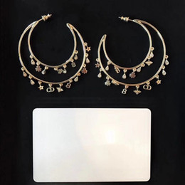 Vintage copper hoop earrings online shopping - Vintage Famous Brand Gold Multi Stars Leaf Bee CD Alphabet Charm Tassel Double Round Circle Hoop Loop Earrings For Women Jewelry