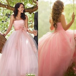 $enCountryForm.capitalKeyWord Australia - 2019 Strapless Wedding Dresses A Line Tulle Spring Summer Bridal Gowns with Sash Zipper Back Sweet 16 Party Dress
