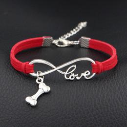 $enCountryForm.capitalKeyWord Australia - Wholesale Punk Braided Woven Cuff Red Leather Suede Bracelets & Bangles Infinity Love Dog Bone For Women Men Jewelry Birthday Christmas Gift