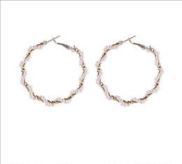 $enCountryForm.capitalKeyWord Australia - Pearl circle exaggerated big circle earrings Plastic & Alloy material Plating process Hoop 5.5 cm * 5.2 cm