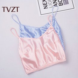 Wholesale stripe pajama online – Breathable Stripe and comfortable summer pure cotton stripe thin sling lovely sexy women s sleeveless Pajama home suit