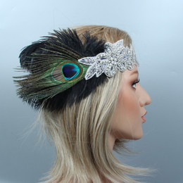 peacock feather wedding hair accessories NZ - Black Peacock Feather Flapper Headband Gatsby Silver Crystal Beading Floral Hair Bands Wedding Beading Flowers Hair Accessories