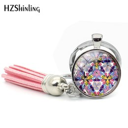paintings bottles NZ - 2019 New Arrival Art Kaleidoscope Tassel Keychain Flower Painting Keychains Glass Dome Jewelry Blue Color Tassel Keyring