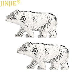 China Fun White Steel Animal Bear Cufflinks Smooth Metal Sleeve Nail Men's French Shirt Cuff Button Cufflinks High Quality Groomsman cheap french nails white suppliers