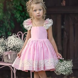 3279451f3 2019 kids clothes Girls dress small flying sleeves lace embroidered princess  dress