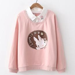 $enCountryForm.capitalKeyWord Australia - Cute Rabbit Hoodies For Women Elegant Fake Two Pieces Shirts Collar Harajuku Letter Cartoon Sweatshirts