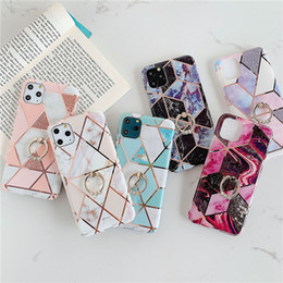 Black ring pink diamonds online shopping - Diamond Ring Stand Marble Soft TPU Phone Case Back Cover For iPhone Pro Max Pro XS MAX XR X PLUS Samsung Note S10 Plus S10