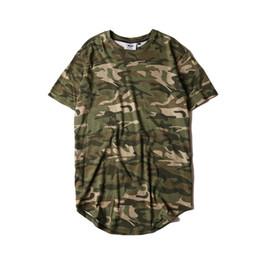 15ec7ab1 2017 Summer 100% Cotton Curved Hem Camouflage T-shirt Men Longline Extended  Camo Hip Hop T Shirts Urban Kpop Tee Mens Kanye West C19041101
