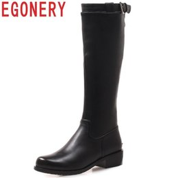 Comfortable Knee High Boots Australia - Egonery Women Shoes Nice Popest Fashion Round Toe Low Square Heel Zipper Solid Outside Comfortable Knee High Boots Size 25-51