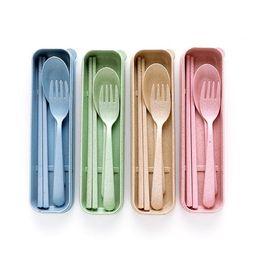 Venta al por mayor de Estilo nórdico Wheatstraw dinnerware portátiles de la vajilla ecológica situada Caso Ambiental Tenedor Cuchara cubertería