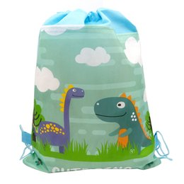 cute baby boy shower gifts UK - Birthday Party Mochila Boys Favors Cartoon Cute Dinosaur Theme Decorate Non-woven Fabric Baby Shower Drawstring Gifts Bags